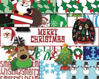 Christmas Digital Paper, Christmas Paper, Instant Download, Santa Scrapbook Paper, Holiday Paper, Digital Scrapbook Christmas. Santa, Tree