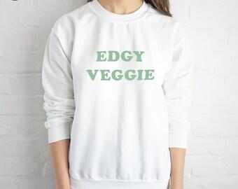 Edgy Veggie Sweatshirt Sweater Jumper Top Fashion Grunge Vegetarian Vegan