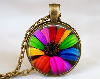 Multicolored Rainbow Daisy - Flower Nature Handmade Pendant Necklace