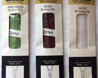"Your Choice: Vintage New Talon Neckline Zipper 18"" Nylon Coil in Apple Green, Wine (Dark Red), or White"