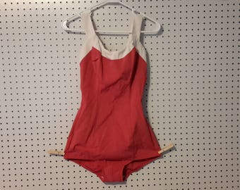 Vintage Cole of California  Red and White Pin-Up. Zippered Swimsuit size 16