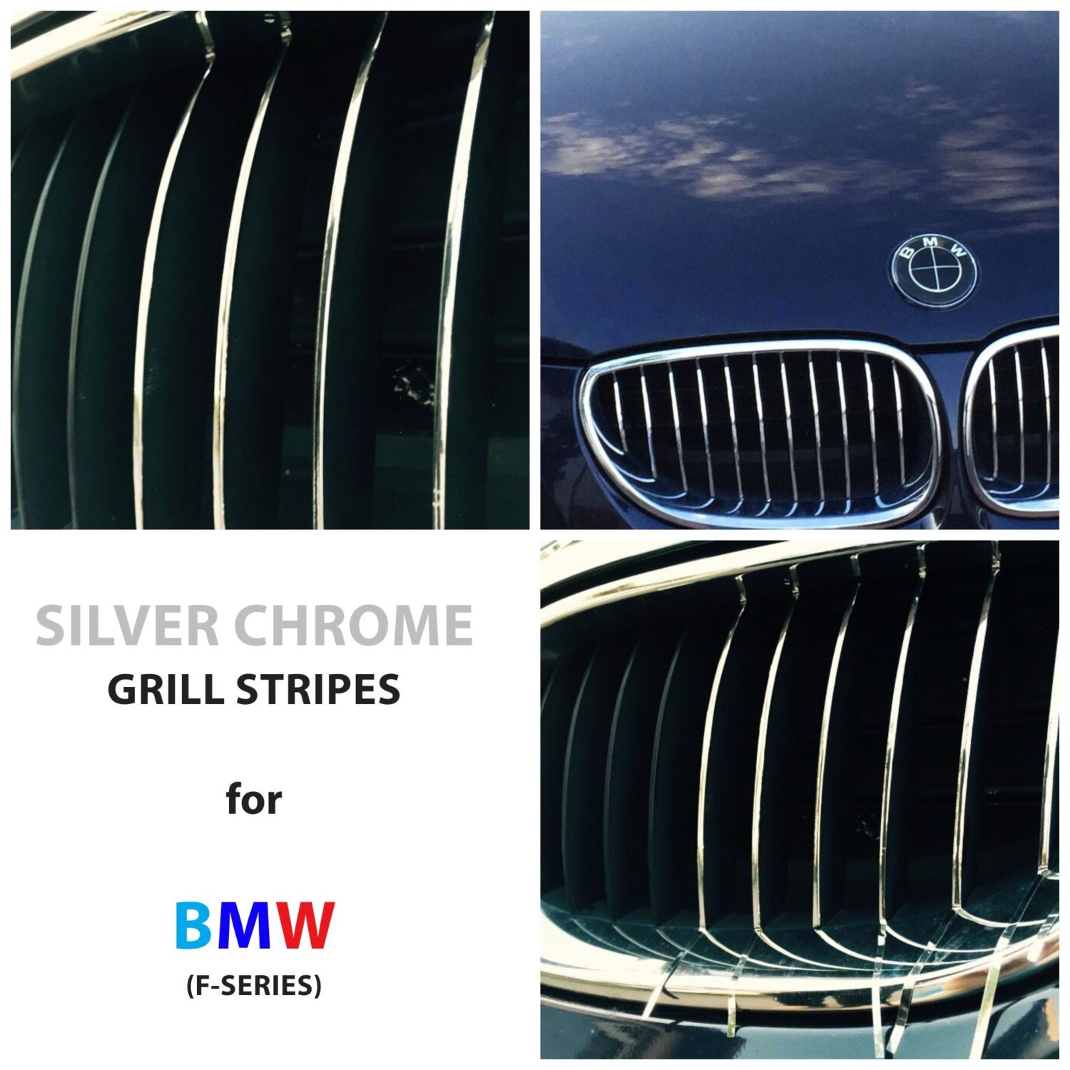 BMW Kidney Grill Grille Stripes Silver Chrome M Sport Sticker - Bmw grille stripe decals