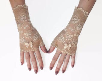Fingerless lace gloves/beige lace gloves/lace gloves/beige fingerless