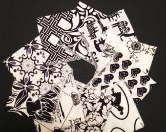 Ladies Handkerchiefs, Set of 10, Black & White Prints,Flannel Handkerchiefs, Reusable Tissues,Paperless Hankies,Womens Handkerchiefs WH816