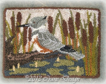 "Primitive Punch Needle PATTERN ""Belted Kingfisher"""