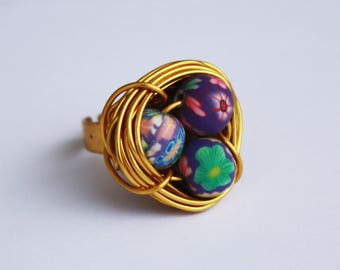 Bird nest Ring - gold and purple flowers