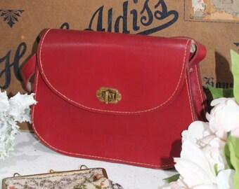 Vintage Red Leather Handbag/Saddle Bag/Red Shoulder Bag/SALE(1954W)