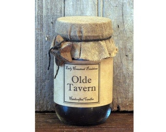 Primitive Candle, Country Candle, Rustic Candle, Olde Tavern Scented Jar Candle
