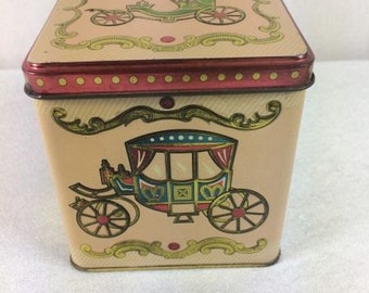 Vintage Carriage Tin Baret Ware Tin Canister Vintage Tin Box With Carriages Ornate Tin Box