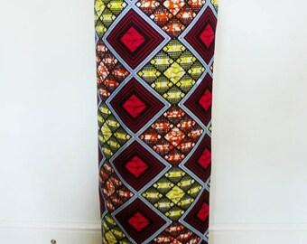 Red and Black Diamonds Print Ankara Lapa, Ankara Wrap Skirt,  African Wax Maxi Skirt - Made to Order