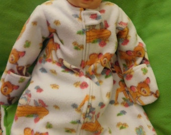 BABY SLEEP SACK -- Bambi fleece -- with or without mittens - S,M,L or X-Large