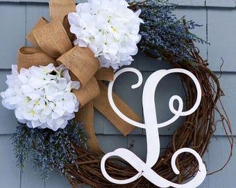 Rustic Wreath , Farmhouse Wreath, Rustic Decor, Farmhouse Decor, Monogram Hydrangea Wreath for Summer, Rustic Farmhouse Wreath