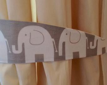 Grey elephant tiebacks