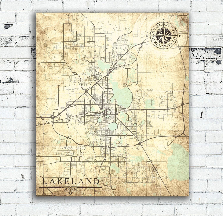 LAKELAND FL Canvas Print Florida FL Vintage Map Lakeland City - Florida map lakeland fl
