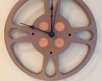 """Rustic Reclaimed Film Reel Clock - 10.5"""" ON SALE"""