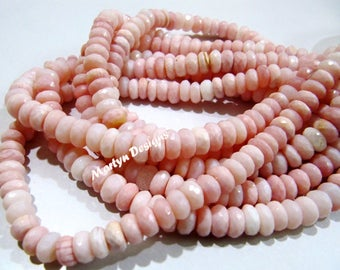 AAA Quality Genuine Pink Opal Rondelle Faceted Beads , Far Size Natural Pink Opal Beads 7-8mm , Strand 8 inch long , Semi Precious Gemstone.