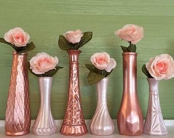 Gold Vases, Rose Gold Wedding, Rose Gold Centerpieces, Blush, Petal, Pink Vases, Rose Gold Decor, Gold Vases, Gold Wedding, Gold Vases