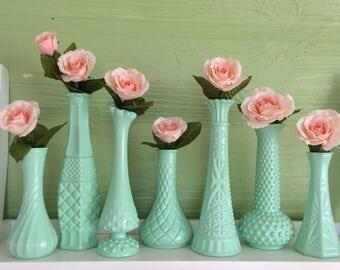 Green Vases, Mint Green Centerpieces, Mint Green Bud Vases, Pastel, Mint Green Decor, Mint Green Wedding, Mint Baby Shower, Mint Dorm