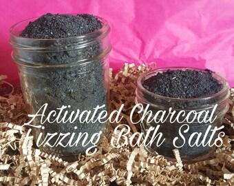 Activated charcoal detox fizzing bath salts- detox bath salts- black bath salts