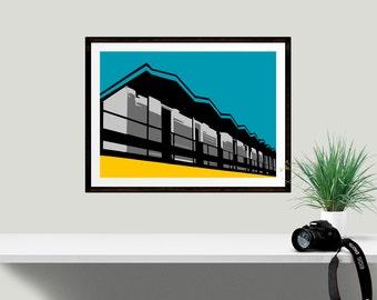 1960s Retro Architectural Graphic Print, Blue Yellow Beach Hut graphic art print, Seaside art print, A6 print, A5 print, A4 print, A3 print,