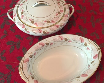 Vintage Noritake China Rosanne Pattern 5610 With Pink And Brown Leaves Circa 1955-1960