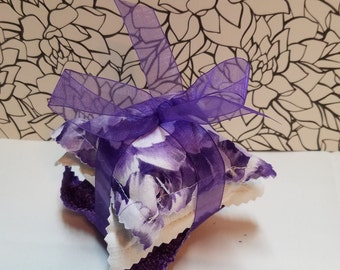 Set of 3 Lavender sachets Purple/White Floral, White on White,Small Purple Flowers