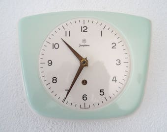 Junghans Mint Green Retro Ceramic Kitchen German Wall Clock Vintage (Hermle Kienzle era)