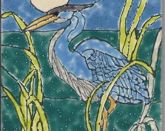 Great Blue Heron #207 Hand Painted Kiln Fired Decorative Ceramic Wall Art Tile 6 x 6
