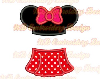 Split Minnie skirt embroidery applique design, BX file included, ms-149