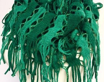 Green Stripe infinity Scarf, Green Crochet Cowl Scarf, Loop Scarf, Fringed Infinity Scarf