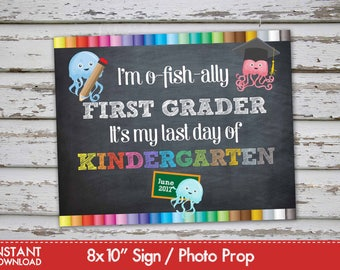 Last Day of Kindergarten Sign Announcement, Kindergarten Photo Prop Chalkboard, Last day of school, First grader INSTANT DOWNLOAD