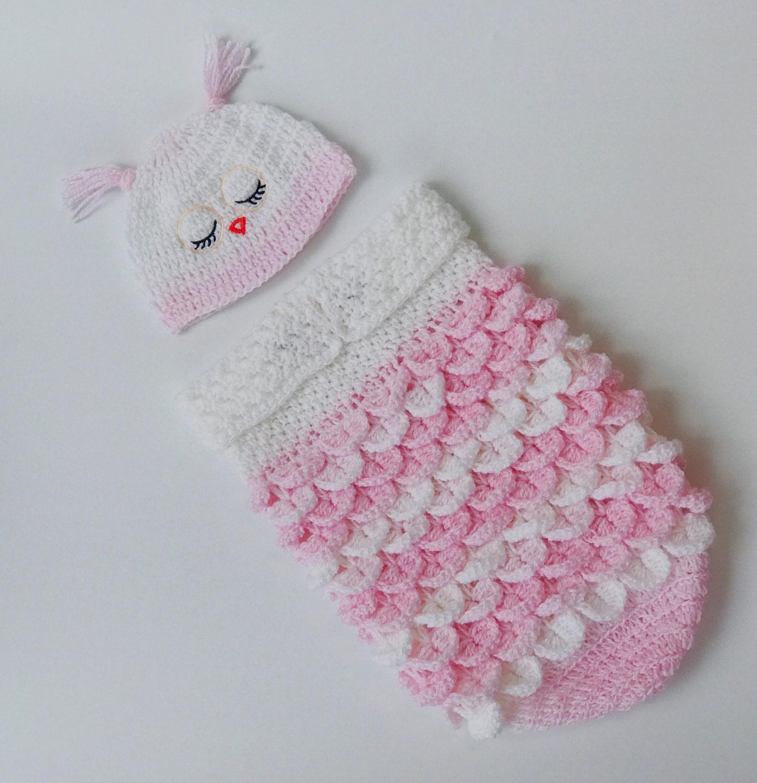 Baby Owl Cocoon Hat Set Crochet Newborn Owl Cocoon Baby