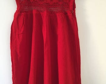 Tradicional mexican red blouse of manta