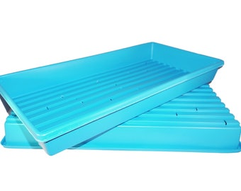 Made in the USA 1020 Blue Heavy Duty Growing Trays, for wheatgrass, microgreens (With Drain Holes)