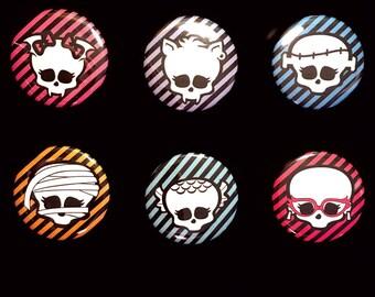 Monster High School Ghouls Logo Set of Pinback Buttons