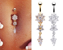 1PC Piercing Dangle Crystal Navel Belly Button Bar Barbell Rings Rhinestone Body