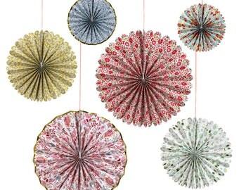 Liberty Print Floral Paper Pinwheels, Paper Fans, Paper Pinwheels, Party Decorations, Wedding Decorations, Window Display, Baby Shower