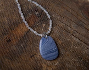 Blue Lace Agate Necklace with Crystal Quartz Stations