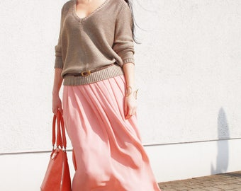 Blush pink skirt Chiffon skirt Maxi skirt bridesmaid skirt Long chiffon skirt Full length Floor length  Bridesmaid dress Engagement dress