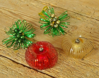 Vintage Christmas tinsel glass ornaments retro red green.Christmas tree ornaments.Holiday decor.Vintage Christmas.Old ornaments. 60s retro.