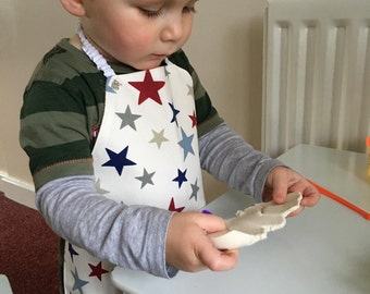 Toddler apron, star pattern, red, white and blue pattern, small apron, my first apron