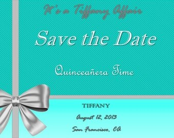 Breakfast at Tiffany's-save the date-Tiffany invitation-turquoise-Quinceanera-invitations-silver tiffany bow-sunday brunch-formal