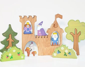 WALDORF Castle toys Play set King toy Princess toy Knight toy Learning Toys Wooden Tree Figurines Toys for toddlers Christmas gift idea