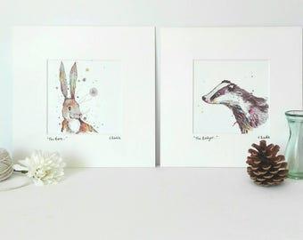 Watercolour Hare and Badger 6 x 6 Print Set, British Wildlife Art, Country Wall Art