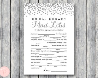 Silver Bridal Shower Mad Libs,Marriage advice cards, Wedding Mad Libs, Bridal Shower Mad Libs, Bridal Mad Libs, Mad lib advice TH63