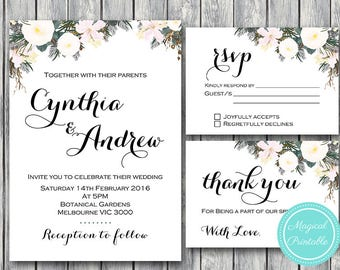 White Floral Custom Wedding Invitation Set, Wedding Invitation Printable, Engagement Party Invitation, Personalized, Suite WD69 TH21 WI15