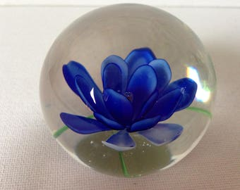 Glass Paperweight, Flower Paperweight, Paper Weight, Paperweight, Office Desk Accessories, Desk Gift, Office Decor, Blue Flower, Collectible