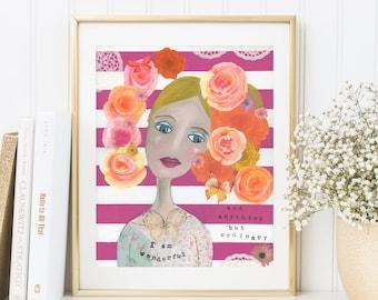 """Kunstdruck, Bild """"I AM WONDERFUL"""" Zitat von Pink, Blumen, pink weiss gestreift, Poster eines Original Mixed Media Bildes, Spruch, Typo"""