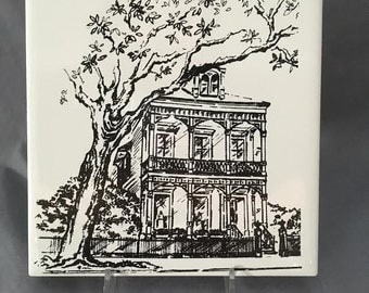 New Orleans Mansion on St. Charles Avenue 6' x 6' Porcelain Tile Trivet