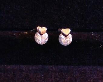 Shiny Heart Stud Earrings